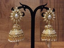 New Indian Ethnic Gold Plated Pearl Moti White Jhumki Bali Drop Earring