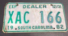 License Plate Tag South Carolina SC 1982 Dealer XAC 166