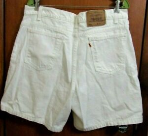 Vintage 80's Levis Jean White Shorts 36W Levi 550 Beach Skate Orange Tag USA