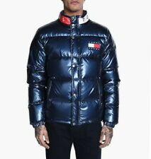 Tommy Hilfiger 90s Metallic Blue High-Shine Puffer Jacket