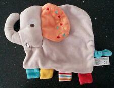 COM 9 Doudou éléphant gris oreille orange Nicotoy Simba pattes bleu jaune rouge