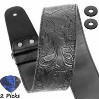 Guitar Strap, Printed Leather Guitar Strap PU Leather Western Vintage 60's Retro