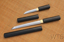 Japanese Hand Forged Matt Black Tanto Wakizashi Shirasaya Ninjato Samurai Swords