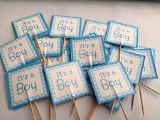 Baby Shower Decoración de mesa pastel de hadas selecciones banderas Toppers genderreveal Azul