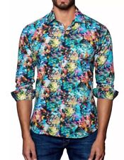 """NWT Jared Lang Trim Fit """"Woven Abstract"""" 100% Cotton Button Down Shirt XL $149"""