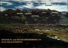 SCHWEIZ ~1980 Alpen Berge mit Namen Panorama Schaan FL und Buchs-Werdenberg