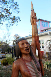 Wooden Indian Warrior Custom Carved Wood American Made LIFE SIZE 8' (Free Ship)
