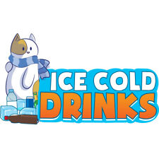 Ice Cold Drinks 1 Concession Decal Sign Cart Trailer Stand Sticker Equipment