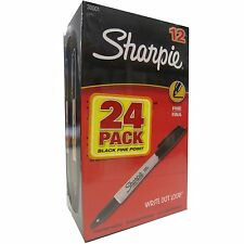 Sharpie, Permanent Marker, Fine Point, Black, 24-Count