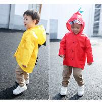 Kids Cartoon Raincoat Waterproof Hooded Jacket Boys Girls Children Rain Coat d8j