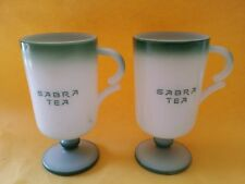 2 Vintage Milk Glass Cup Cups Sabra Tea Israel Mug Green Mid Century Modern