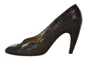 Walter Steiger Shoes Size 5.5 Maroon Red Black Textured Pumps Leather Heels