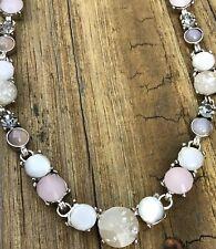 "LOFT Ann Taylor Plastic moonstone Rhinestone 17"" Silver necklace Statement Grey"