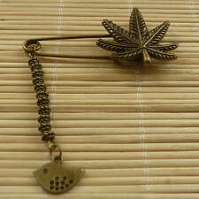 27pcs bronze plated maple leaf brooch with fish charms 61x31mm ZH989