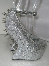 "Privileged Silver Spikes 6.5""High Wedges Heelless  2""Platform Sexy Shoes Size 5"