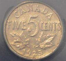 1925 EF 40, cleaned, ANACS graded Canadian Five Cents- Key Date!
