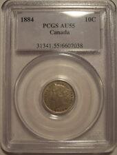 Canada Victoria 1884 KeyDate Silver Ten Cents - PCGS AU-55