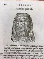 Tonneau des Danaïdes 1557 Crible Blé Agriculture Rare Gravure Ancienne