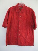 Batik Bay Men's Size M 100% Cotton Red Geometric Short Sleeve Hawaiian Shirt