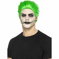 Green Slick Trickster Wig Joker Clown Halloween Mens Fancy Dress Costume