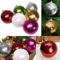 Christmas Sequin Glitter Baubles Balls Xmas Tree Ornament Decoration 8CM ~!~