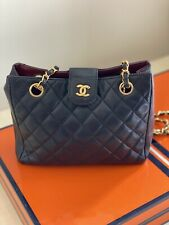 CHANEL Navy Blue Quilted Lambskin S