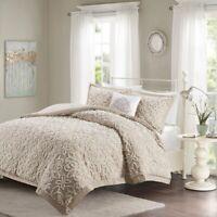Soft Sheared Faux Fur Mink Blush Ivory Medallion Comforter 3 pcs Cal King Queen