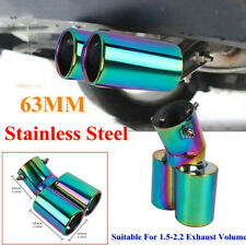 63MM Stainless Steel Car 2 Exhaust Muffler Tail Throat 1 Out 2 Full Color Curved