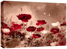 Red Sepia Canvas Chinese Floral Wall Art Picture 77x52 cm framed 3cm frame