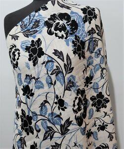 **66 X 170cm Oblong Cream, Black & Blue Printed Light Wool Scarf