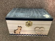 CAT PET IN LOVING MEMORY WOODEN BOX ASHES CASKET PERSONALISED GIFT Urn