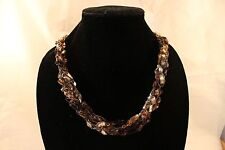 Adjustable Crochet Yarn Necklace Scarf Handmade ladder ribbon trellis brown gold