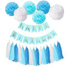 Happy Birthday Banner Set Paper Tassel Pompom Ball 1st Party Table Hanging Decor 07 Blue Blue Set(tissue Pompoms Banner)