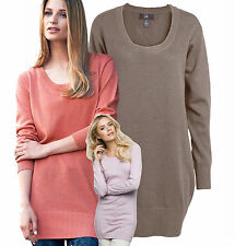 Patternless Scoop Neck Long Jumpers & Cardigans for Women