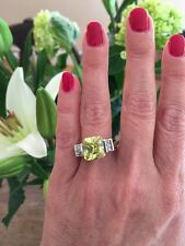"NEW ""designer inspired"" Large Light Green Peridot CZ Ring w.Pave Detail size 7"