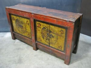 Asian Buffet or Credenza w/ Traditional Construction; Antique Timbers; Hewned
