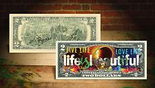 Life Is Beautiful 2017 Solar Eclipse $2 U.S. Bill Hand-Signed Rency Art Banksy