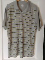 CALLAWAY Sport Golf Polo Men's Size XL 100% Polyester Gray Striped Shirt.