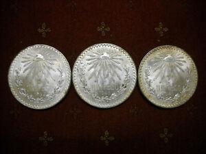 Lot of Three (3) Uncirculated Mexico 1-Peso (KM# 455) Silver .720 Fine 1932 & 45