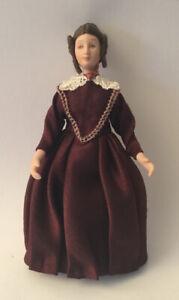 Dolls House Lady Wearing Burgundy Dress - 14.5 cm