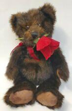 Hallmark Chocolate Brown Teddy Bear with Red Rose Beanbag Plush EUC