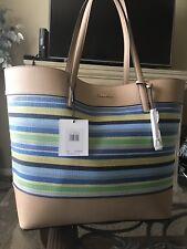 Calvin Klein Fabric Woven Marine Stripe and PVC  Tote Shopper NEW