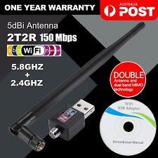 802.11ac AC600 USB WiFi Wireless Adapter Dongle WPS 5GHz Dual Band 5dBi Antenna