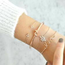 New 4Pcs/Set Ladies Gold Triangle Knot Love Cactus Opening Bangle Chain Bracelet