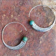 Vintage Boho 925 Silver Turquoise GEMSTONE Drop Dangle Hooks Wholesale Earrings