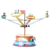 Carousel + Rotating Spacecraft Mechanical Clockwork Wind Up Vintage Tin Toy