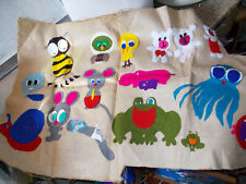 Vintage applique nursery hanging frieze cute animals on hessian backing