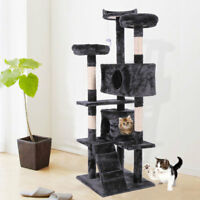 """Cat Tree 60"""" Tower Condo Furniture Scratching Post Pet Kitty Play House Black"""