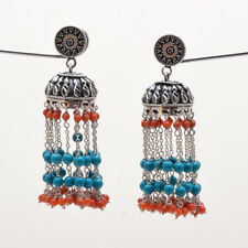925 Sterling Solid Silver Umbrella Earrings Turquoise,Coral Handmade (BABI)