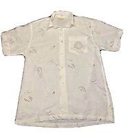 Versace DN Vtg Mens Button Shirt XL Short Sleeve Medusa Head White Italy Color